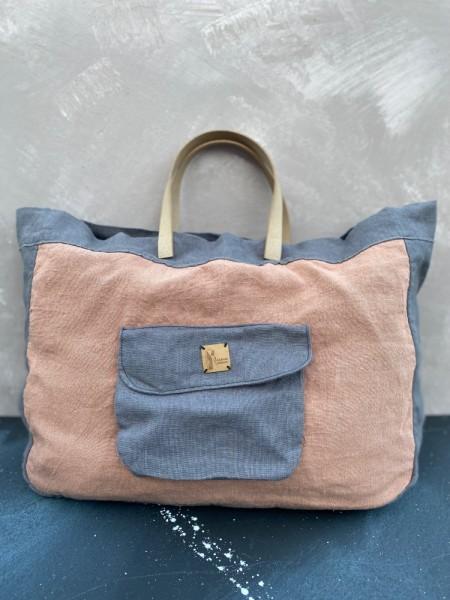 (L)einkaufstasche mit Hanf Sandrose